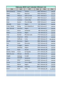 February Cash Calendar Winners List 2019 - CMHA Saskatchewan